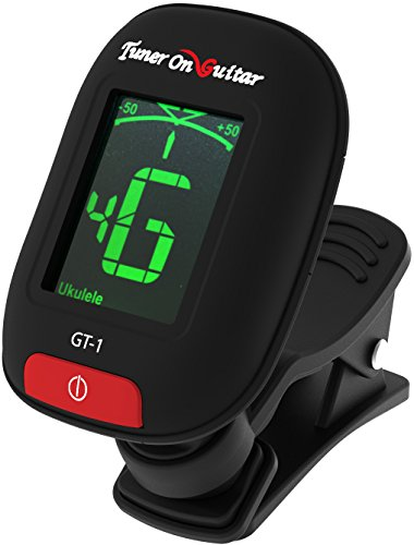 Tuner On Guitar Clip-On Tuner for Guitars, Ukulele, Bass, Violin, Mandolin, Banjo, Chromatic, 360 Degree Rotating, Electric & Acoustic, Fast & Accurate, Easy to Use, Auto Power Off, Battery Included.