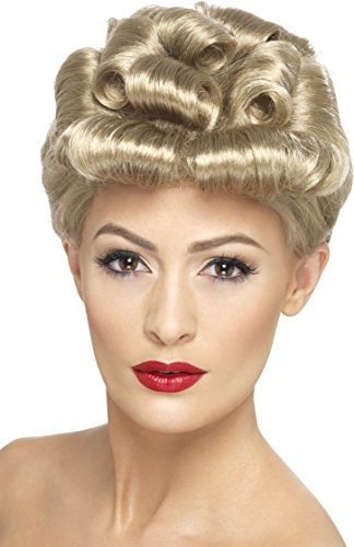 Smiffy's Women's 40's Style Blonde Up do Wig with Curls, One Size, 40's Vintage Wig,5020570296080