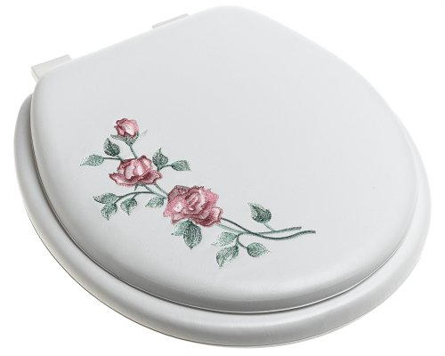 Ginsey Standard Soft Toilet Seat with Plastic Hinges, Rose Garden White