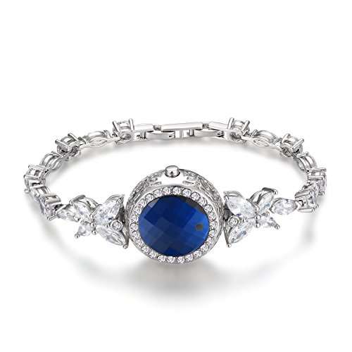 Smart Jewelry,health tracker bracelet for women,IPX7 Waterproof with 925 Sterling Silver bracelet +SWAROVSKI Crystals Sapphire bracelet