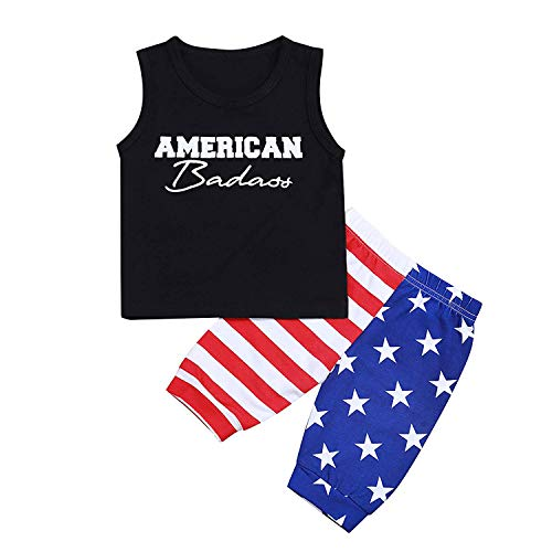 MILWAY Toddler Baby Boys Patriotic 4th of July Independence Day Sleeveless T-Shirt Vest+US Flag Shorts Pants Outfits Set,Black,80/6-12M
