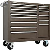 """Kennedy Manufacturing 315XB 39"""" 15-Drawer Industrial Double-Bank Rolling Tool Cart with Cabinet and Chest, Brown"""