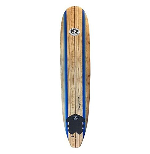California Board Company Foam Surf Board, 9-Feet (Color: Brown/Wood graphic)
