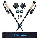 Trekking Poles, PEAK WALK Ultra-Light 7.5 oz, 3K Carbon Fiber Hiking Poles, Collapsible Walking Sticks with Metal Flip-Lock and EVA Foam Grips - 1 Pair Black