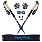 Trekking Poles, PEAK WALK Ultra-Light 7.5 oz, 3K Carbon Fiber Hiking Poles, Collapsible Walking Sticks with Metal Flip-Lock and EVA Foam Grips - 1 Pair Black