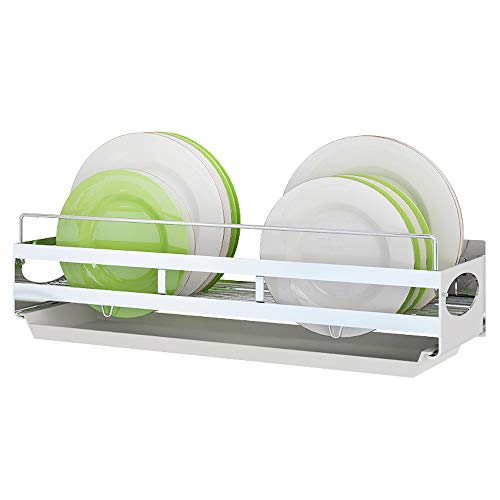 Hanging Dish Drying Rack Wall Mount Over the Sink,Junyuan Kitchen Dishes Plate Rack Organizers with Removable Drain Board,Durable-Stainless Steel