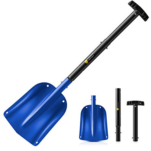 ORIENTOOLS Snow Shovel with 3 Piece Collapsible Design, Aluminum Lightweight Sport Utility Shovel, 26''-32'' Portable and Adjustable Snow Shovel for Car, Camping, Garden (9' Blade, Blue)
