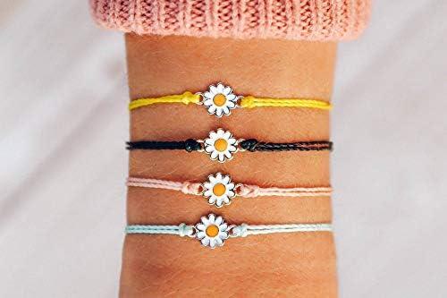 Pura Vida Gold or Silver Daisy Bracelet - Waterproof, Artisan Handmade, Adjustable, Threaded, Fashion Jewelry for Girls/Women 2