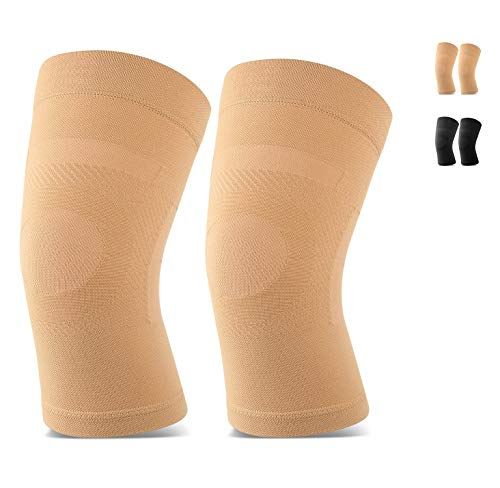 Knee Sleeves, 1 Pair, Lightweight Knee Brace Fit for Men & Women, Knee Compression Sleeves Support for Pain Relief, Joint Pain, Arthritis, Running, Sports, Meniscus Tear, Injury Recovery, Beige XXL