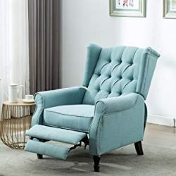 Artechworks Tufted Fabric Push Back Arm Chair Recliner Single Reclining Fabric for Adjustable Club Chair Home Theater Padded Seating Living Room Lounge Modern Sofa, Blue and Green