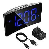 PICTEK Digital Alarm Clock, 5'' Dimmable Curved LED Screen Time Clock for Kids Bedrooms Desk Living Room, Big Digit Display, Snooze, 12/24 Hour, Battery Backup, USB Charger, Power Adapter, Blue