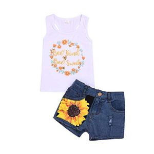 Youmymine 2pcs/Set Casual Toddler Kids Girl Sleeveless T-Shirt Top+Floral Denim Shorts Outfits