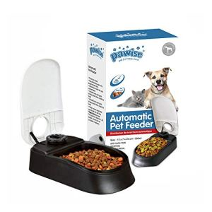 PAWISE Automatic Pet Feeder for Dogs and Cats, Food Dispenser Station with Timer, 100% BPA Free, Dishwasher Safe, Great Gift Ideas