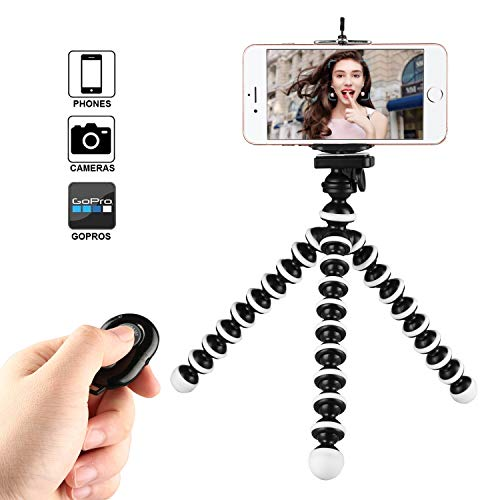 Phone Tripod, Kamisafe Portable Flexible Cell Phone Tripod Adjustable Camera Stand Holder with Wireless Remote & Phone Clip Compatible for iPhone Xs MAX XR X 8P 7P 6 Android Galaxy S9 Plus S8 Gopro