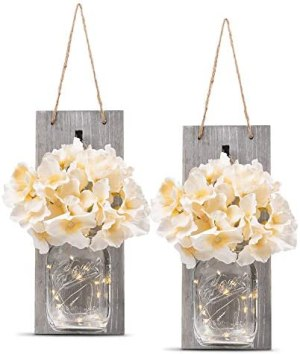 HOMKO Decorative Mason Jar Wall Decor – Rustic Wall Sconces with 6-Hour Timer LED Fairy Lights and Flowers – Farmhouse Home Decor (Set of 2)