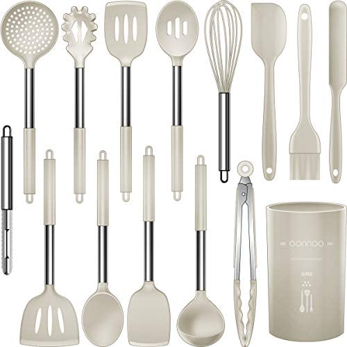 Silicone Cooking Utensils Set – Heat Resistant Kitchen Utensils,Turner Tongs,Spatula,Spoon,Brush,Whisk.Stainless Steel Khaki Silicone Cooking Tool for Nonstick Cookware.Dishwasher Friendly. (Large)