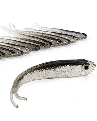 Fluke Fishing Lures Bass Bait, Soft Plastic Split Tail Lure Set -24pcs Jerk Minnow Swimbait