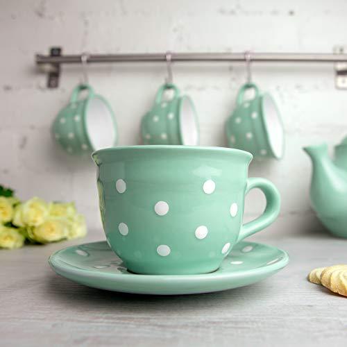 Teal Blue Polka Dot Coffee Tea Cup