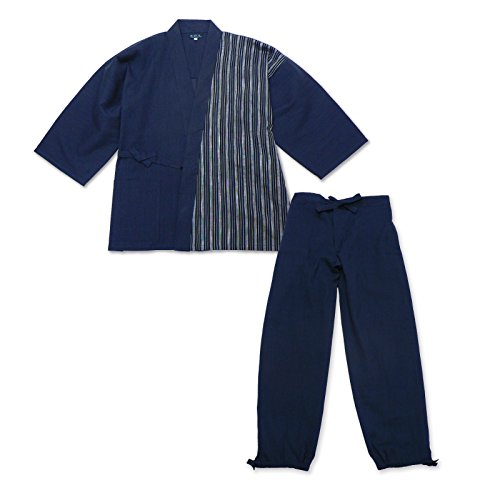 wasuian Men's Samue Working Cloth Cotton hemp Yoryu Willow Medium Dark Navy
