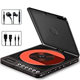 Portable CD Player, Searick 1000mAh Compact Personal Rechargeable CD Player with Double 3.5mm Headphone Jack, Anti-Skip/Shockproof Function Music Disc Walkman Player with LCD Display