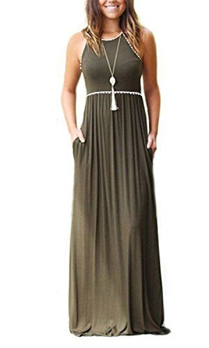 Gtealife Womens Sleeveless Spaghetti Strap Loose Plain Maxi Dresses Casual Long Dresses with Pockets
