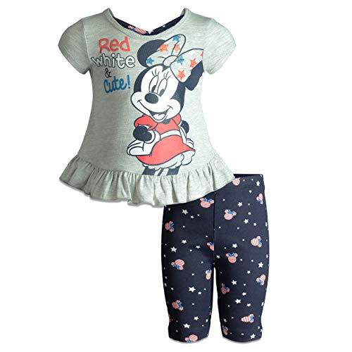 Disney Minnie Mouse Toddler Girls' Ruffle Tunic & Bike Shorts Set (Heather Grey, 2T)