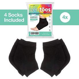 ZenToes Moisturizing Heel Socks 2 Pairs Gel Lined Toeless Spa Socks to Heal and Treat Dry