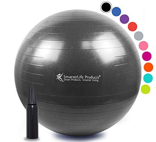 Exercise Ball for Yoga, Balance, Stability from SmarterLife - Fitness, Pilates, Birthing, Therapy, Office Ball Chair, Classroom Flexible Seating - Anti Burst, Non Slip + Workout Guide (Black, 75cm)