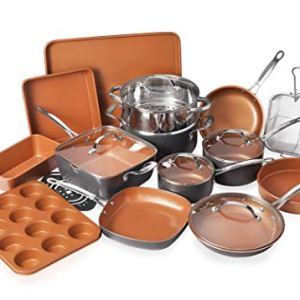 Gotham Steel Cookware + Bakeware Set with Nonstick Durable Ceramic Copper Coating – Includes Skillets, Stock Pots, Deep… 4