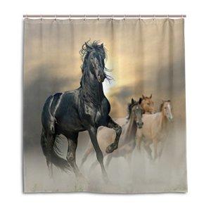 ALAZA Sunset Black Horses Running at Field Shower Curtain Custom Waterproof Fabric Curtain Bathroom Decor 66 x 72 inch…