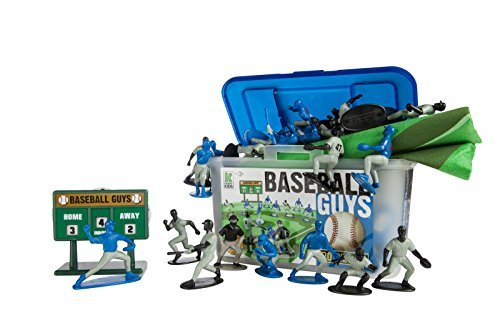 Kaskey Kids Baseball Guys: Blue vs Black - Inspires Imagination with endless hours of creative, open-ended play – 2 Full Teams and Accessories. Perfect gift for the young Baseball fan. 25+ pieces. 3+