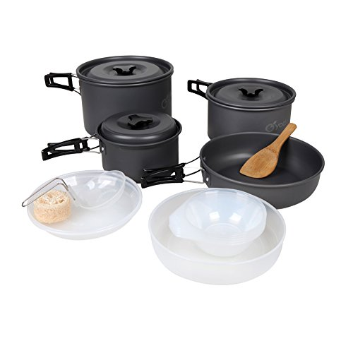 yodo Anodized Aluminum Camping Cookware Set Backpacking Pans Pot Mess Kit for 4-5 Person