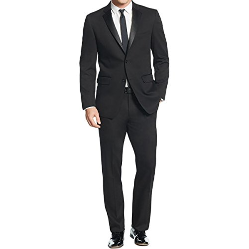 51SlHup79OL Slim fit tuxedo with single-breasted jacket and flat-front pant Jacket features satin notch lapel, jetted flap pockets, and side vents Pant features zip fly with button and button-through welted back pockets