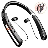 Wireless Bluetooth Headphones, Comsoon Neckband Headset [20 Hours Playtime][Foldable Design] with Retractable Earbuds, Sweatproof Sport Running In Ear Stereo Earphones with Mic