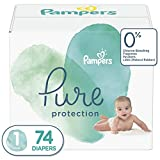Diapers Newborn / Size 1 (74 Count) - Pampers Pure Disposable Baby Diapers, Hypoallergenic and Unscented Protection, Super Pack