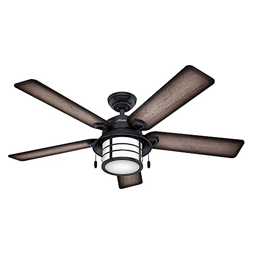 Hunter 59135 Key Biscayne 54' Weathered Zinc Ceiling Fan with Five Burnished Gray Pine/Gray Pine Reversible Blades