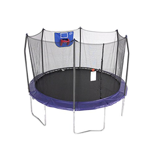 Skywalker Trampolines Jump N' Dunk Trampoline with Safety Enclosure and Basketball Hoop, Blue, 12-Feet