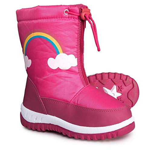 Rugged Bear Girls Rainbow Snow Boots, Kids, Black/Fushia, 3 M US Big Kid