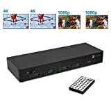 gofanco Prophecy 4x4 HDMI Matrix Switch 4K 60Hz YUV 4:4:4 HDR with Auto Downscaling (Output 4K & 1080p Together) & Alexa Echo Voice Control, HDMI 2.0 Matrix Switcher HDCP 2.2, 18Gbps, EDID, IR, RS-232
