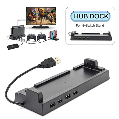 Hub Dock for Nintendo Switch Dock, USB 2.0 Data Transmission Dock with 4 Output Ports for Wired Pro Controllers, Keyboard, Joy-Con Dock, Switch Gamecube Controller Adapter, Mobile Phone, etc
