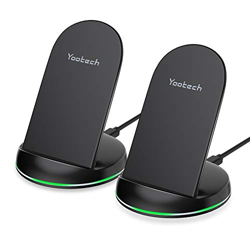 Yootech [2 Pack] Wireless Charger Qi-Certified 7.5W Wireless Charging Stand Compatible with iPhone Xs MAX/XR/XS/X/8/8 Plus,10W for Galaxy S10/S10 Plus/S10E/S9,5W All Qi-Enabled Phones (No AC Adapter)