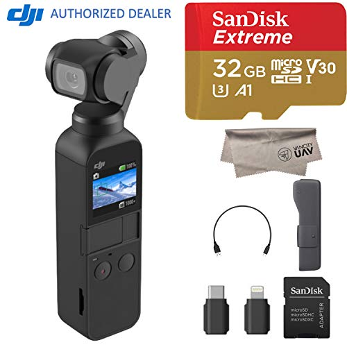 DJI 2018 Osmo Pocket Handheld 3 Axis Gimbal Stabilizer with Integrated Camera, Comes 32GB Extreme, Attachable to Smartphone, Android, iPhone