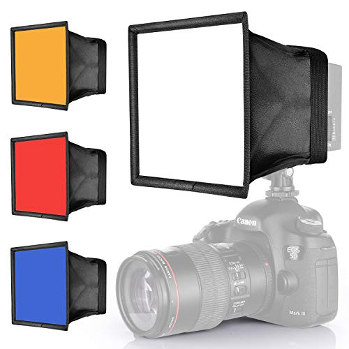 Neewer-Photography-Light-Softbox-Diffuser-Kit-for-CN-160-CN-126-and-CN-216-LED-Light-59x67-inches15x17-Centimeters-Collapsible-Mini-Softbox-Red-Blue-Orange-White