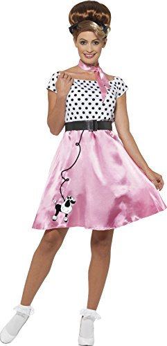 Smiffy's Women's 1950's Rock N Roll Costume, Dress, Belt and Neck scarf, Rockin' 50's, Serious fun, Size 14-16, 45515