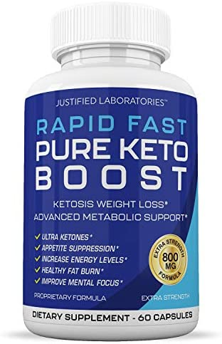 Rapid Fast Pure Keto Boost Pills Advanced BHB Ketogenic Supplement Exogenous Ketones Ketosis for Men Women 60 Capsules 1 Bottle 3