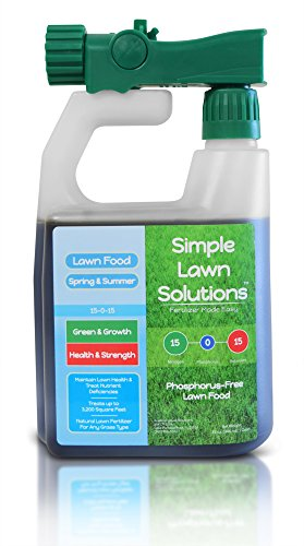 Superior Nitrogen & Potash 15-0-15 NPK- Lawn Food Natural Liquid Fertilizer - Concentrated Spray- Any Grass Type- Simple Lawn Solutions Green, Grow, Health & Strength- Phosphorus-Free (32 Ounce)