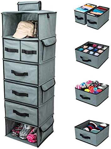 SMIRLY Hanging Closet Organizer Shelves. Grey 6 Shelf Closet Storage with 5 Clothes Organizer Drawers and Purpose Made Pockets. Sweater or Shoe Organizer, Baby Nursery Closet Organization and Storage