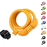 Titanker Bike Lock, Bike Locks Cable 4 feet Coiled Secure Resettable Combination or Keys Bike Cable Lock with Mounting Bracket, 1/2 Inch Diameter