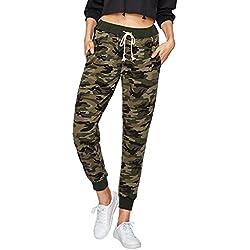 SweatyRocks Women Pants Casual Tie Waist Yoga Jogger Pants Camo XL