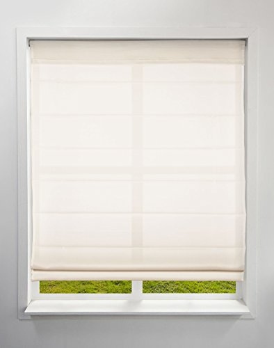 Arlo Blinds Light Filtering Fabric Roman Shades, Color: Ivory, Size: 32.5' W x 72' H, Cordless Lift Window Blinds